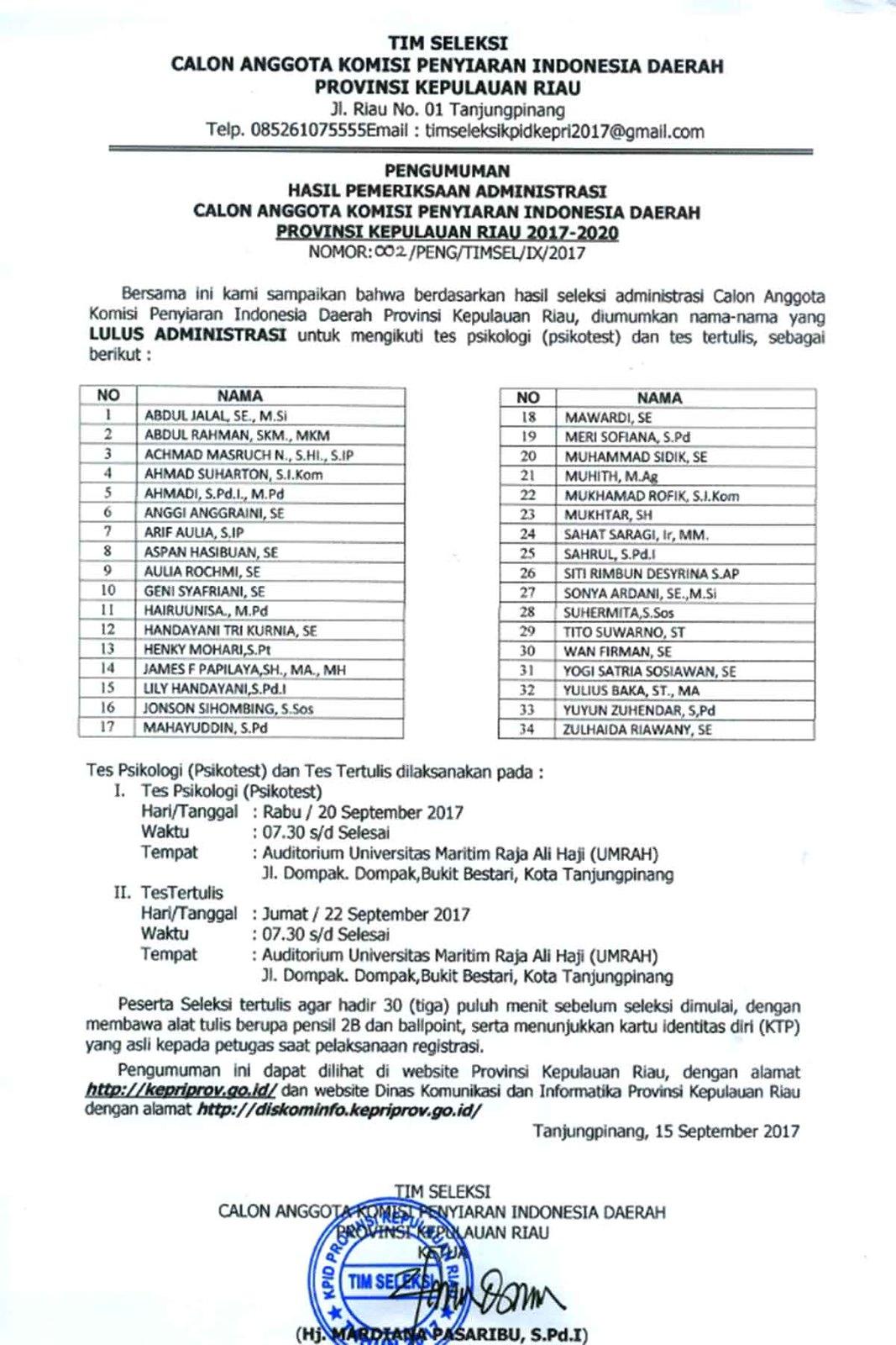 Pengumuman Calon Anggota KPID Provinsi Kepri