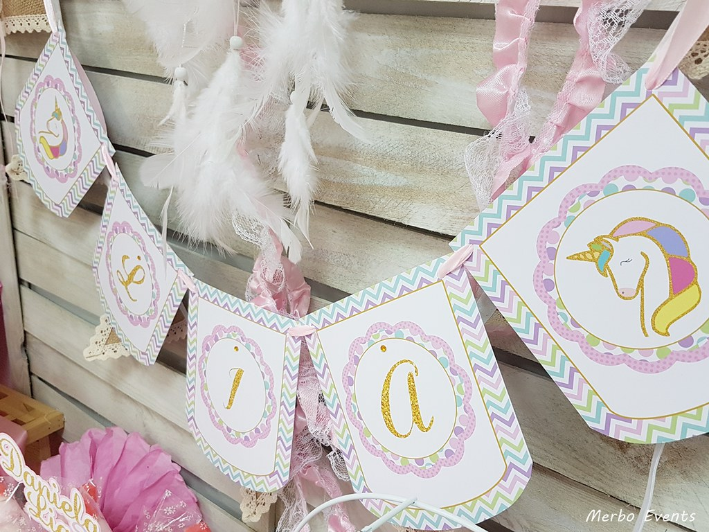 banderin fiesta cumpleaños unicornio Merbo Events