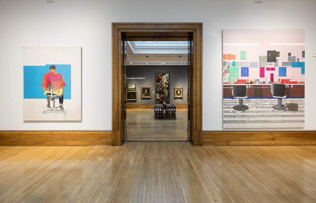 'Peter's Sitters II, 2009' (left) and 'Flat Top, 2008' by Hurvin Anderson, Turner Prize 2017. Photo: © David Levene