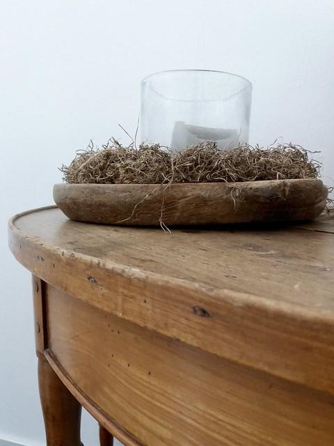 Sidetable houten schaal windlicht