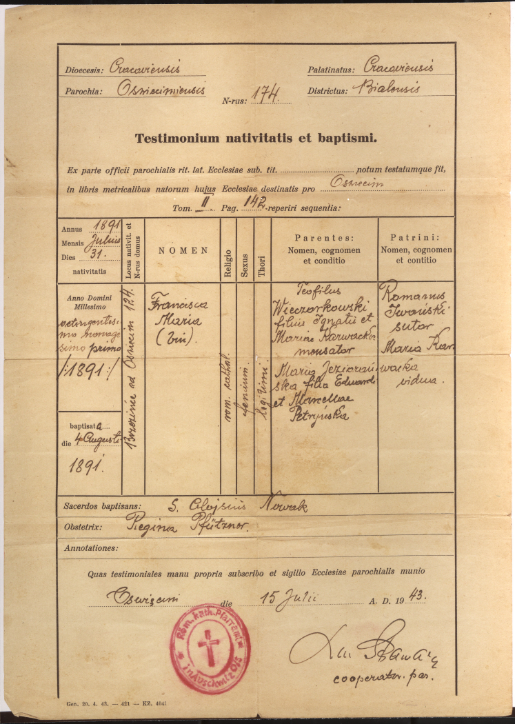 False birth certificate issued in the name of Franciszka Maria Wieczorkowska, that was used by Fanny Tennenbaum, a Jewish woman who was living in hiding in the vicinity of Lvov during World War II.