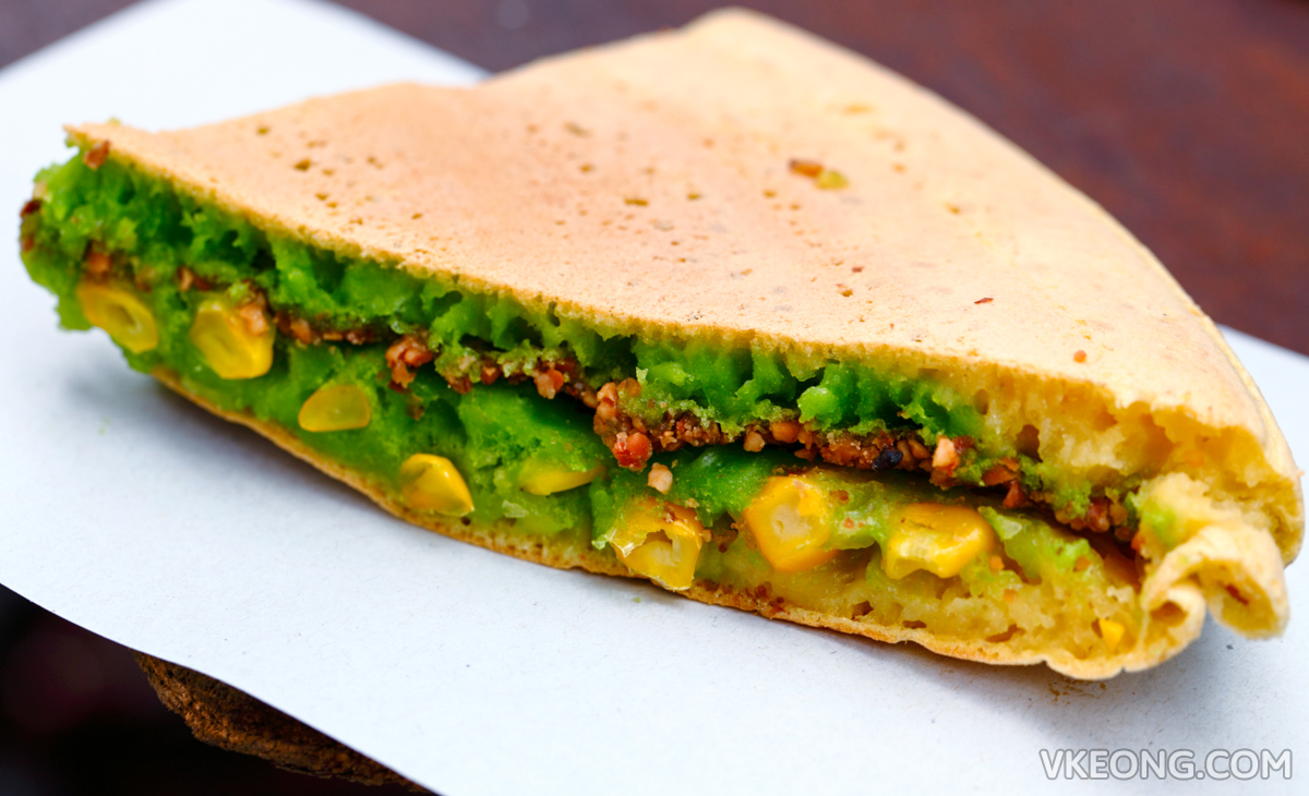 Pandan Apam Balik with Corn