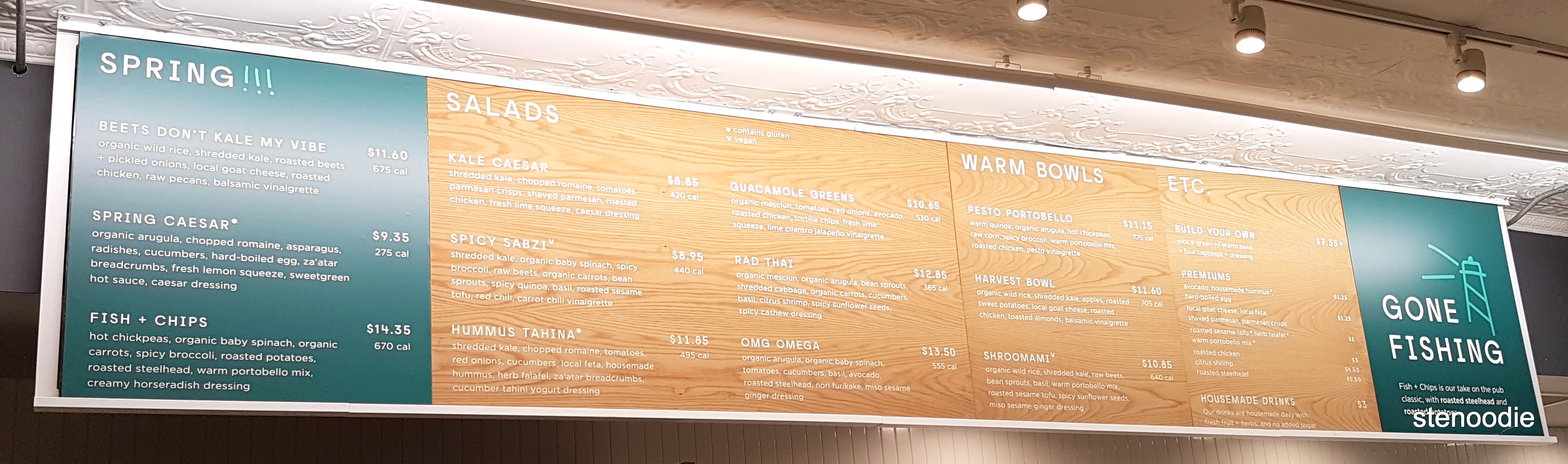 Sweetgreen menu and prices
