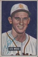 1951 Bowman - Les Moss #210 (Catcher) (b. 14 May 1925 - d. 29 Aug 2012 at age 87) - Autographed Baseball Card (St. Louis Browns)
