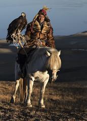 eagle  hunter on horse