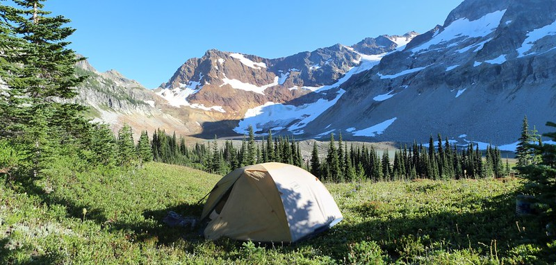 Our tent and campsite looking out over the upper Lyman Lakes basin with Spider Gap on the left