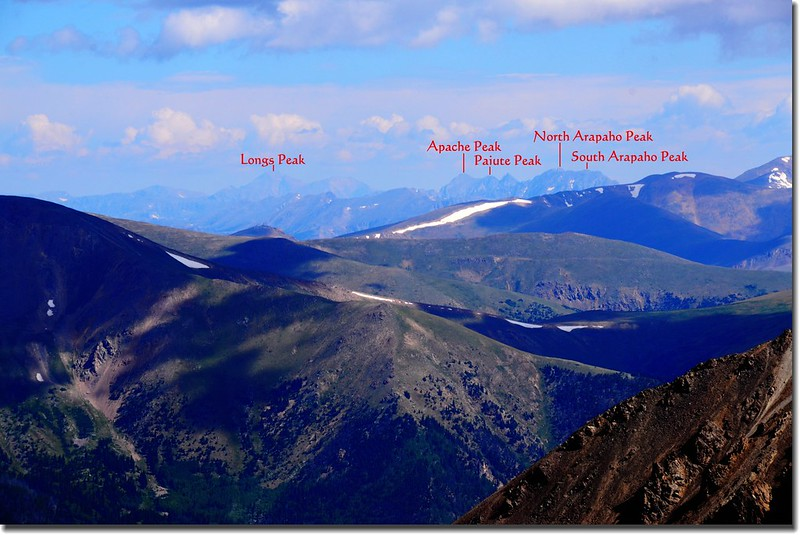 Looking North to Rocky Mountains  from Grays peak