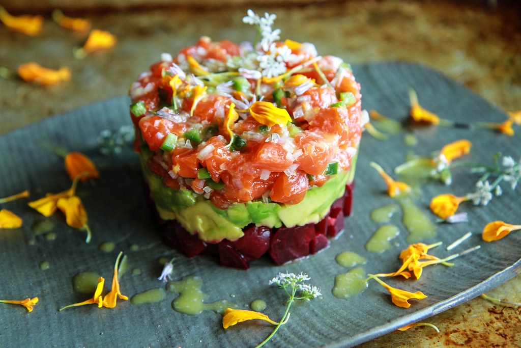 Salmon-Beet-and-Avocado-Tartar-with-Lemon-Vinaigrette-from-HeatherChristo.com_