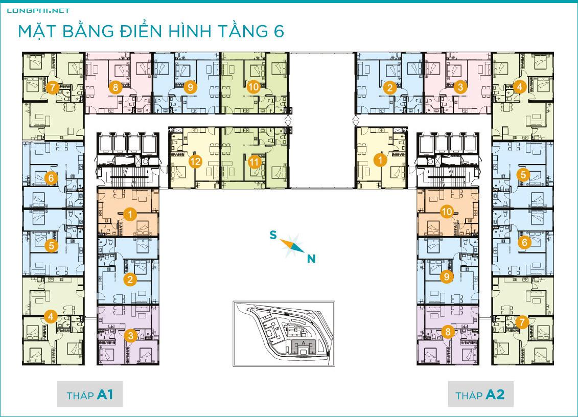 Mặt bằng căn hộ tầng 6 tháp A dự án Lavida Plus quận 7 - Quốc Cường Gia Lai.