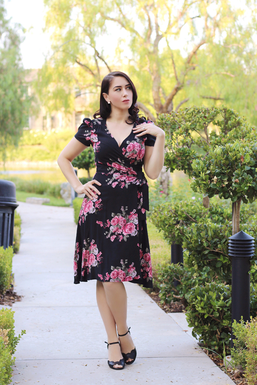 Heart of Haute Rayleine Wrap Dress in Rose Noir