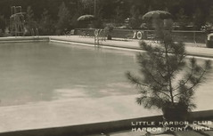 NW Harbor Springs MI RPPC c.1920 POOL AREA Harbor Point Founded 1870s THE LITTLE HARBOR CLUB Private RESTRICTED & Exclusive Club for Wealthy Summer Residents GREAT GATSBY ERA1