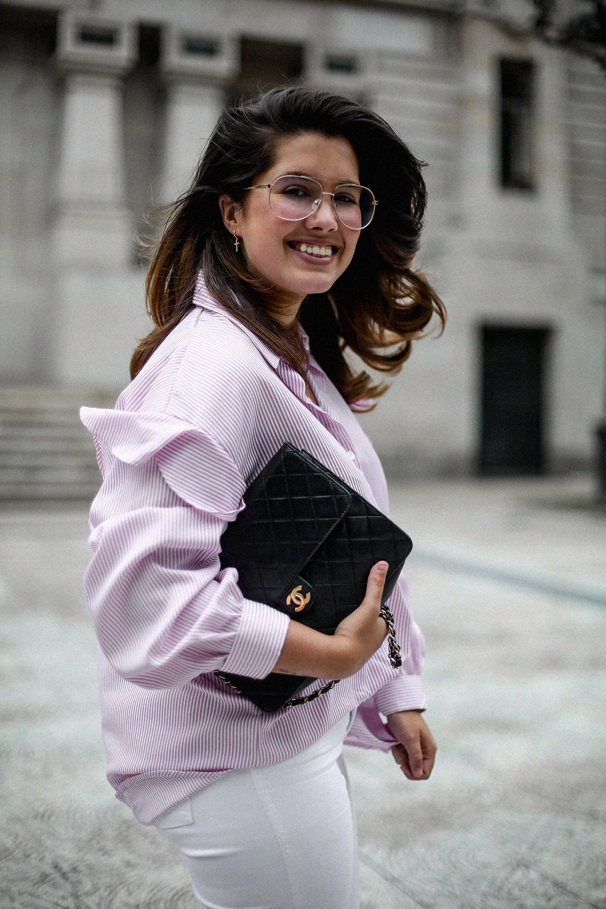 camisa rayas rosa dias como estos bailarinas lazo negras hm myblueberrynightsblog6