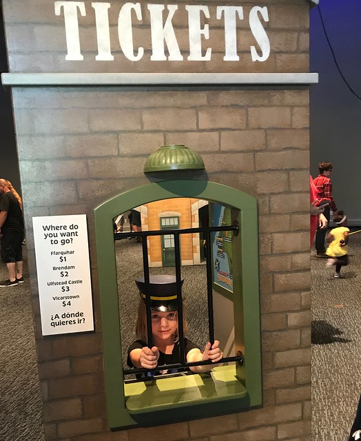 Phoebe taking tickets for Thomas the Train