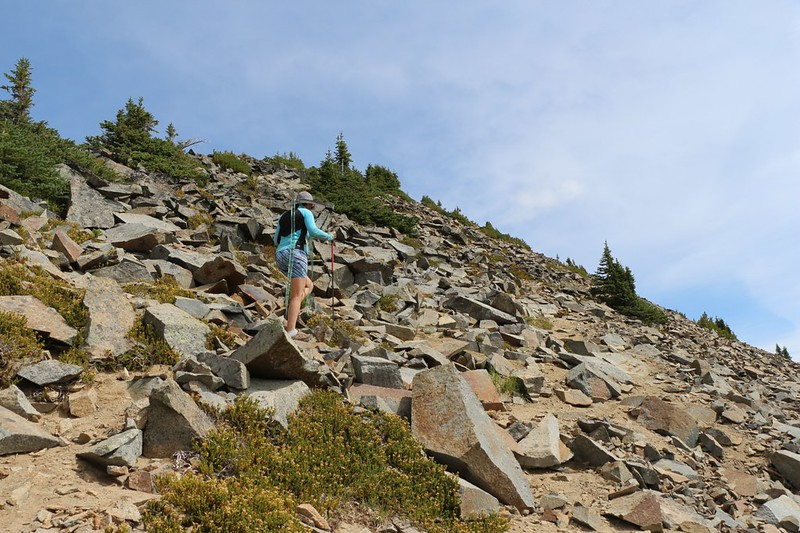 Lots of unstable talus and slippery paths through loose dirt await you if you stray from the ridge on Cloudy Peak