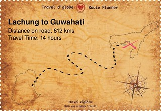Map from Lachung to Guwahati