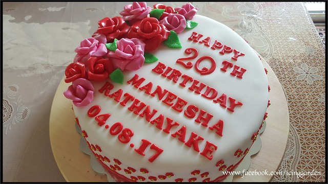 Fondant icing Cake / 20 th Birthday Cake / Birthday Cake