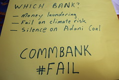 Sign: Which Bank Can? CommBank Can...money launder, fail to inform climate risk, keep silent on Adani