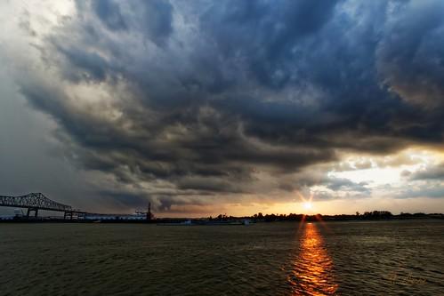 batonrouge mississippiriverbridge mississippi river clouds sunset sun rain louisiana
