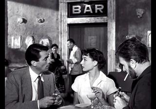 Gregory Peck, Audrey Hepburn, Eddie Albert, at Cafe Rocca, Roman Holiday, 1953