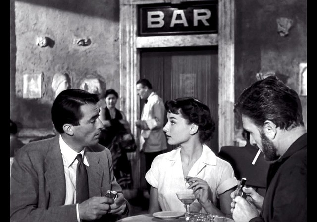 Gregory Peck, Audrey Hepburn, Eddie Albert, at Cafe Rocca, Roman Holiday, 1953