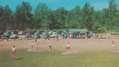 NW Manistee Onekama Arcadia MI 1940s GREAT CARS GIRLS PLAYING IN BASEBALL UNIFORMS in cute red shorts not too functional when sliding most likely College Kids working a Portage Point3
