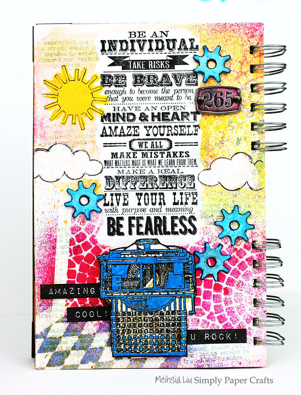 Meihsia Liu Simply Paper Crafts Mixed Media Art Journal Fearless Typewriter School Simon Says Stamp Tim Holtz