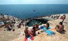 Giola poll inside the rocky seaside cliffs, Thasos Island Greece