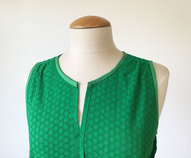 green eyelet top inside view