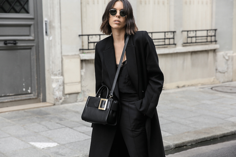 bally buckle bag loafers all black minimal work outfit street style paris fashion blogger kaity modern legacy Instagram (6 of 18)