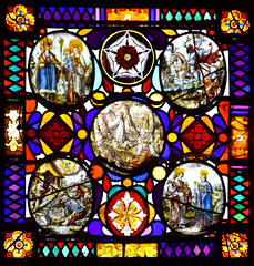 Christ at Gethsemane, with (clockwise from top left) St Nicholas and the Blessed Virgin, St Martin, St John and St Agatha, Adoration of the Shepherds