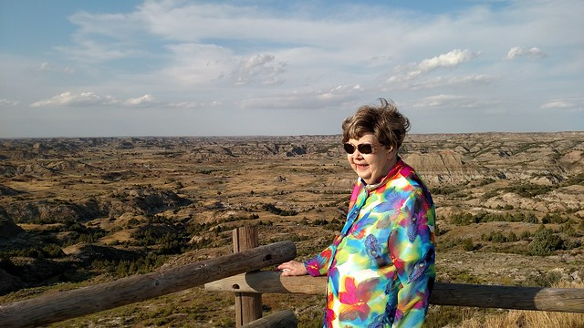 Mom-in-law at Teddy Roosevelt NP