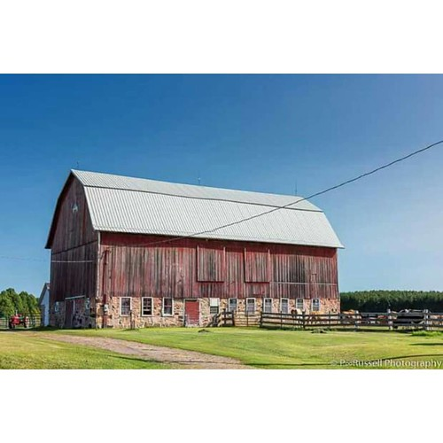 Red Tractor -  Parked next to this magnificent barn is a brightly painted old tractor...  #landscape #nature #travel #tourist #barn #farming #tractor #colorful #wisconsin #natgeous #cows #morning #sun #sunshine #sunrise_and_sunsets #igcolor #ig_namaste #p