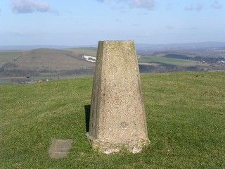 The trig point on the downs near Southease