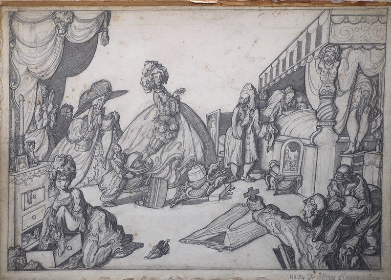 """Alan Odle - The Illness of Candide in Paris, illustration from """"Candide"""" by Voltaire, 1922"""