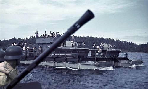 German AA artillery Siebel  sailing in the waters off   Lahdenpohja 13th August 1942