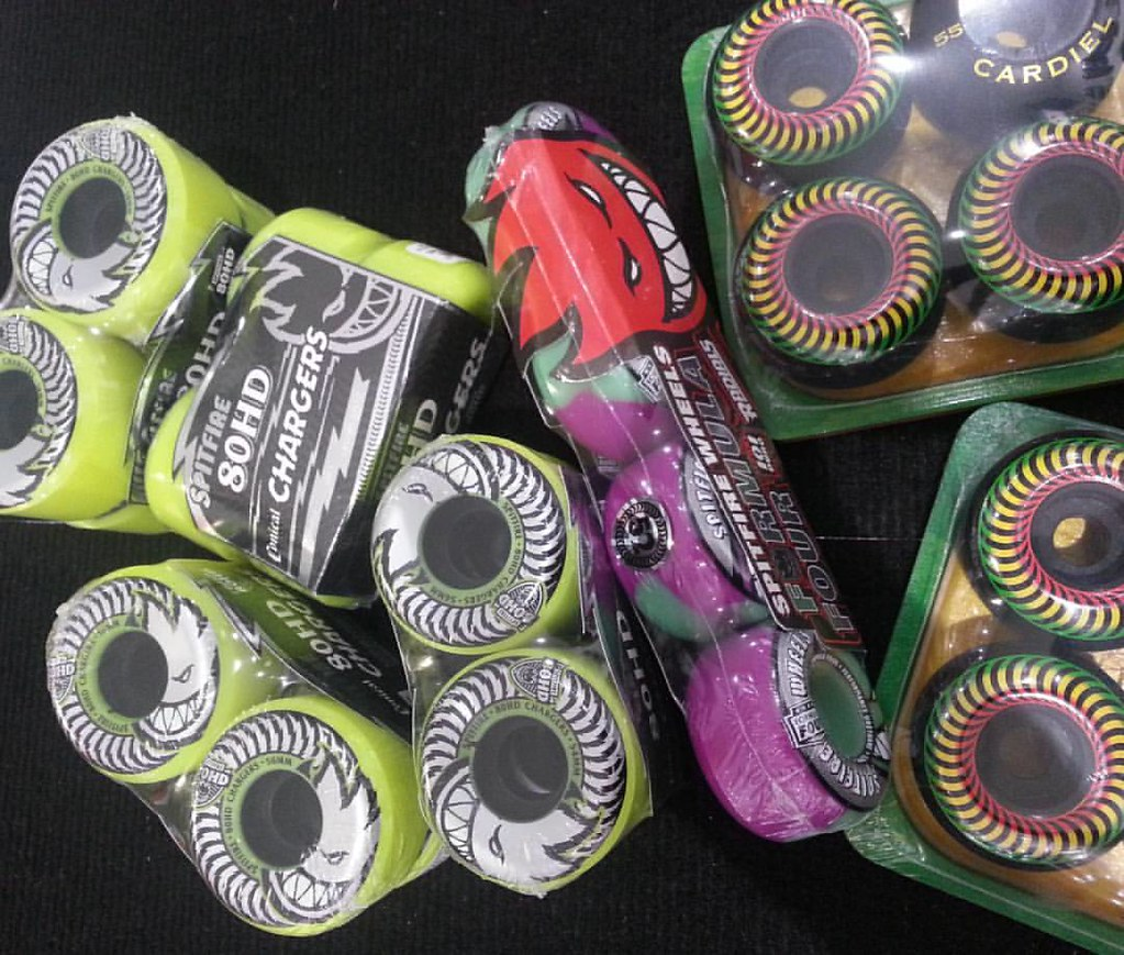 New from Spitfire - neon Chargers, raster Cardiels and Formula Four swirls. #spitfirewheels #boarderlabs #cardiel