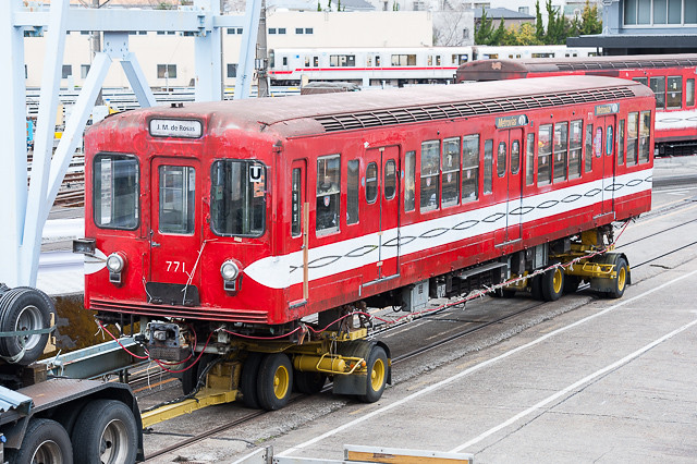 営団地下鉄丸ノ内線500形 771号車 中野工場搬出