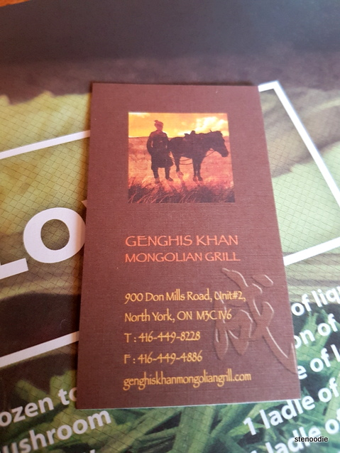 Genghis Khan Mongolian Grill business card