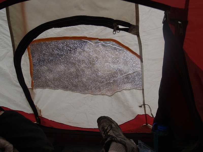 We got the tent up just in time as it started to rain and thunder in Mineshaft Flat