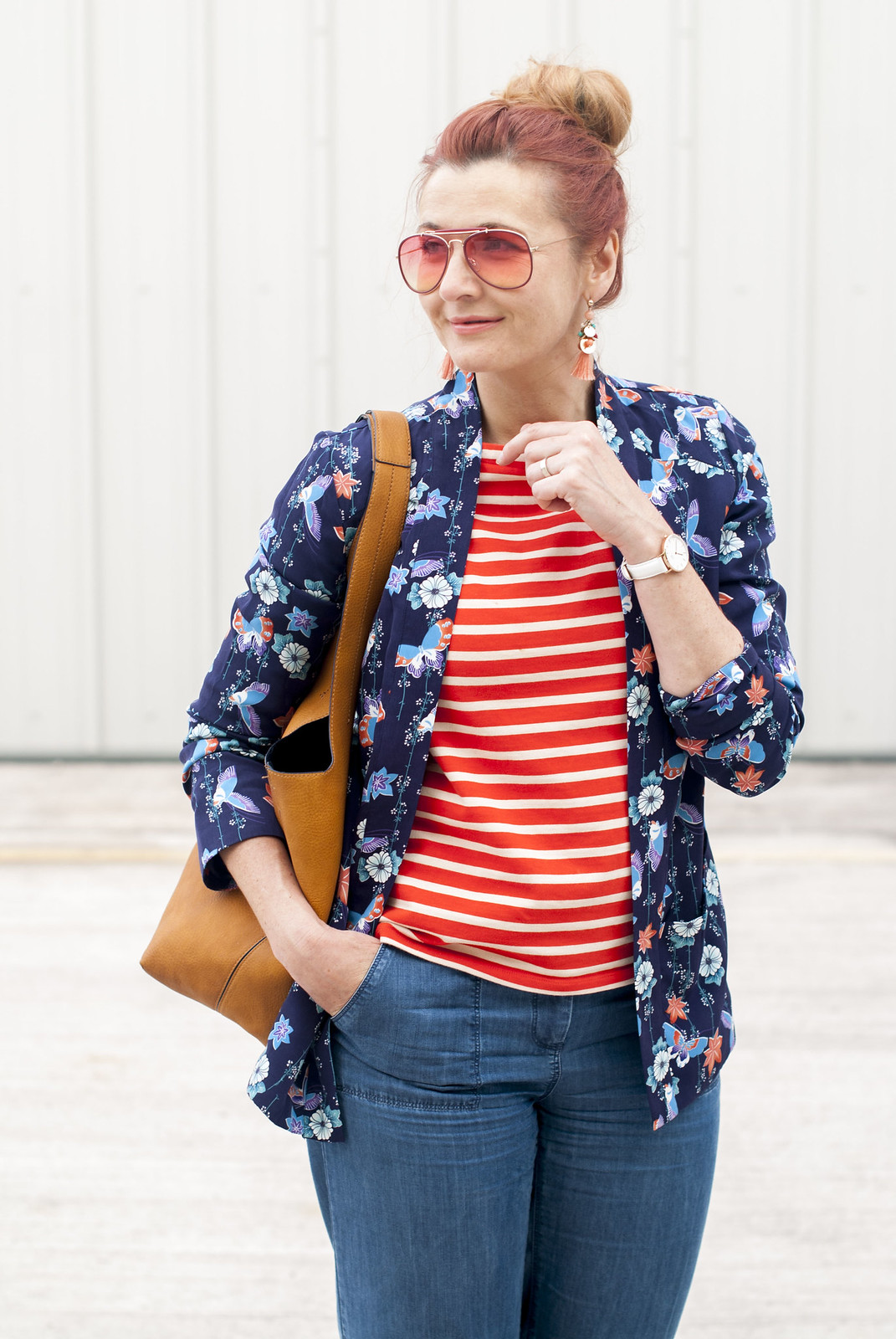 Summer style mixed stripes and florals: Blue floral pyjama-style top  orange stripe Breton top  wide leg denim trousers  orange lace-up ghillie shoes  orange-tinted aviators  yellow ochre hobo bag | Not Dressed As Lamb, over 40 style