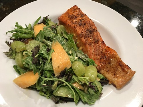 Cedar planked salmon with organic Italian melon and green grape salad with Point Reyes blue cheese dressing