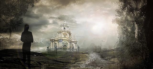 Matte painting Ragusa Ibla e il duomo di San Giorgio 1