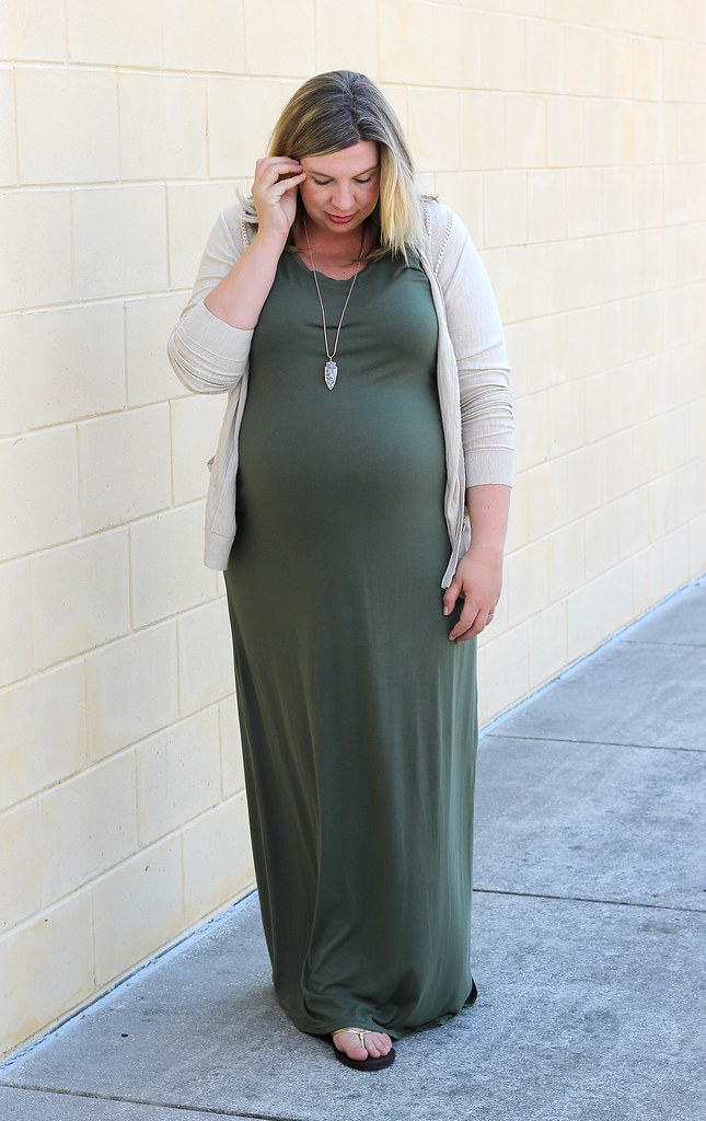 maternity olive dress, tan cardigan 6