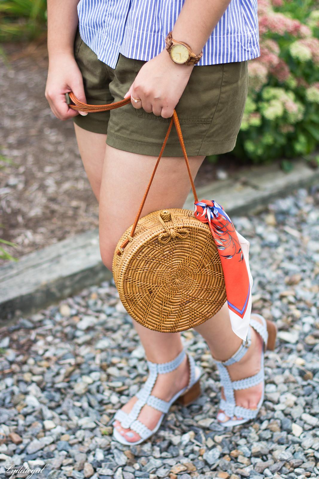striped peplum top, shorts, panama hat, straw bag-5.jpg