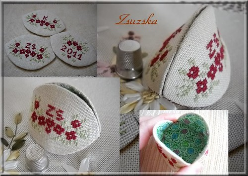 isa vautier, cross stitch, thimble holder