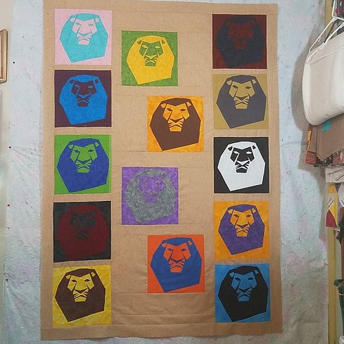 #lionking quilt top number two is pieced! Blocks made by the @fandominstitches Facebook group, designed by me. To be donated to @thelinusconnection. Layout and block designed in @theelectricquiltcompany's #eqstitch.