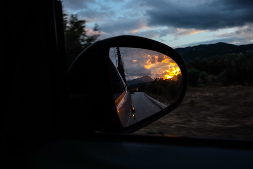 #ontheroad #mirror #reflection #car #sunset #road #evening #sky #blue #countryside #countryroad