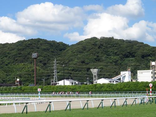 小倉競馬場の4コーナーと鷲峯山