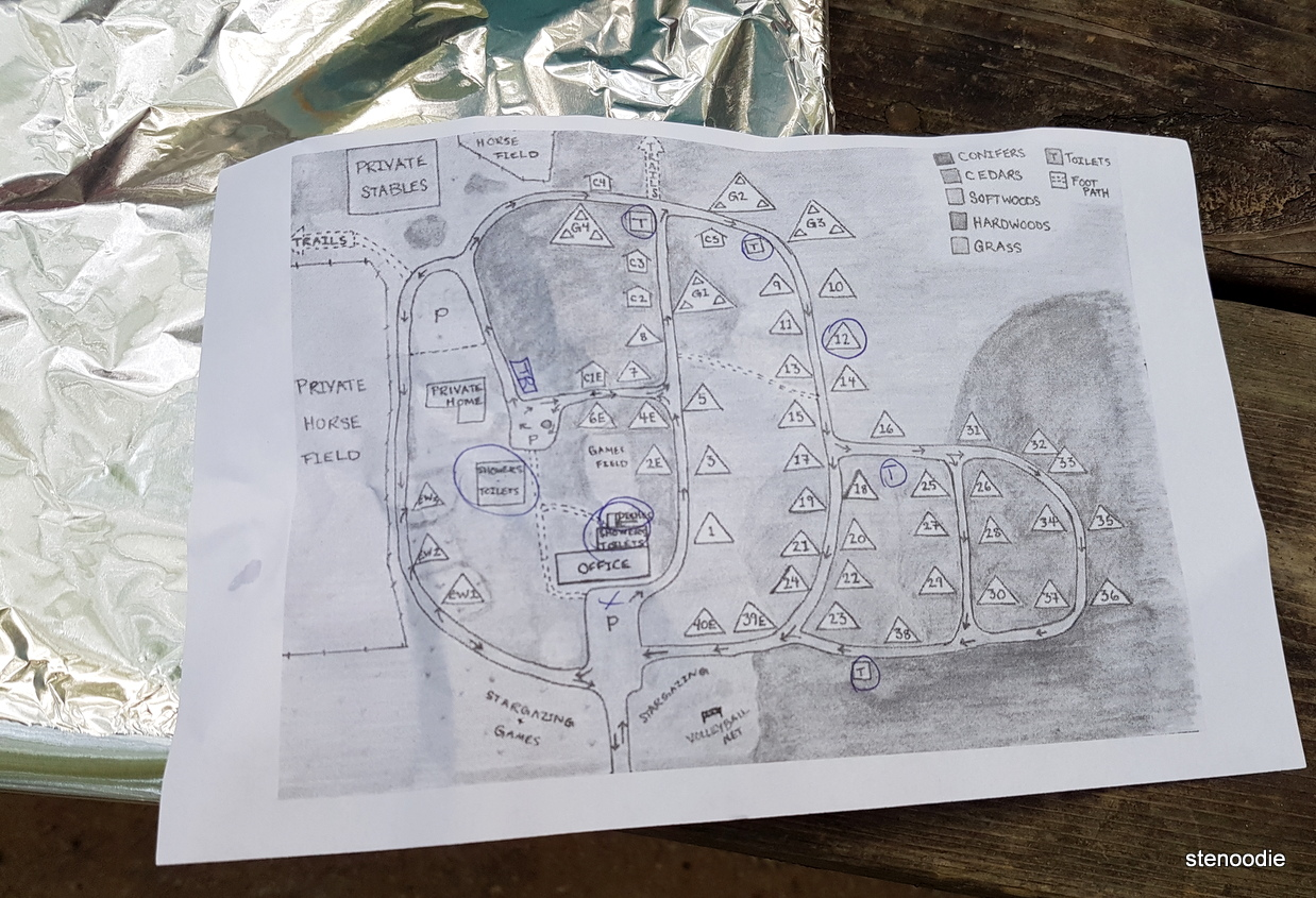 Harmony Acres Campground map