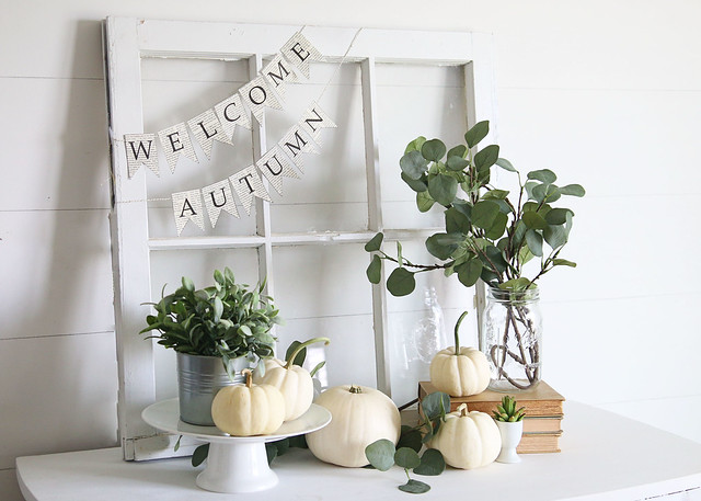 White Green Fall Decor